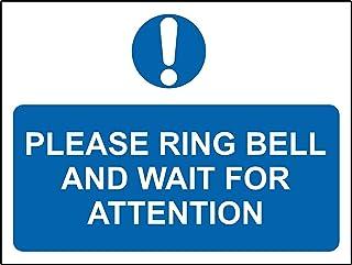 'Please ring bell and wait for attention Sign' – självhäftande vinyl 200 mm x 150 mm
