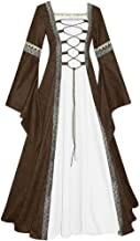 SuperXC Women's Vintage Celtic Medieval Floor Length Renaissance Gothic Cosplay Dress