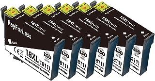 PayForLess 18XL Cartuchos de Tinta Compatible para Epson Expression Home XP-225 XP-215 XP-205 XP-322 XP-212 XP-402 XP-415 XP-422 XP-425 XP-302 XP-305 XP-325 (6 Negro)