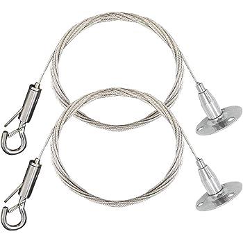 para colgar cuadros y l/ámparas de bricolaje 2 m m/áximo 20 kg Juego de 4 abrazaderas de cuerda de alambre de acero inoxidable con gancho de bloqueo para colgar discos para paneles de luz