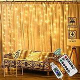 Cortina de Luces, Ausein Cadena de luces por USB, 3 * 3 m 300 LED Resistente al Agua con 8 Modos de Luz, Cortina Luminosa de Lamparita LED para Navidad, Fiesta, Cumpleaños, Boda, Jardín, Blanco...
