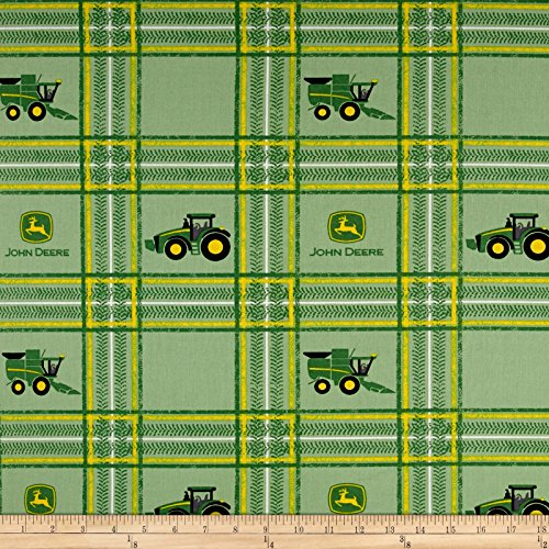 Springs Creative Products 0456929 John Deere Tractor Plaid Fabric by the Yard, Multi