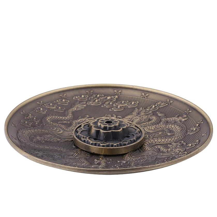 内陸マニュアル戻す香皿 亜鉛の香り バーナーホルダー寝室の神殿のオフィスのためのドラゴンパターンの香炉プレート(ブロンズ)
