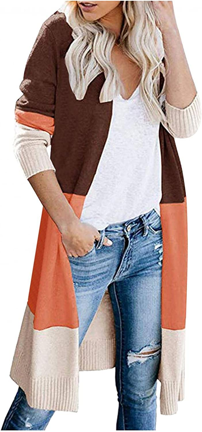 Misaky Ladies Casual Oversized Open Front Cardigan Knitted Sweater Stitching Striped Sweater Coat