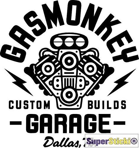 SUPERSTICKI Gasmonkey Garage ca 15 cm Autoaufkleber Tuning Hobby Deko