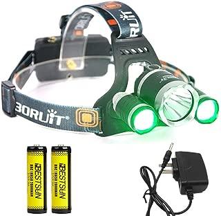 BESTSUN Headlamp with Green Light, Green Coyote Hog Hunting Light, Super Bright Night Hunting Headlamp with Green & White Light, Rechargeable Green Light for Varmint Predator Hunting, Camping, Cycling