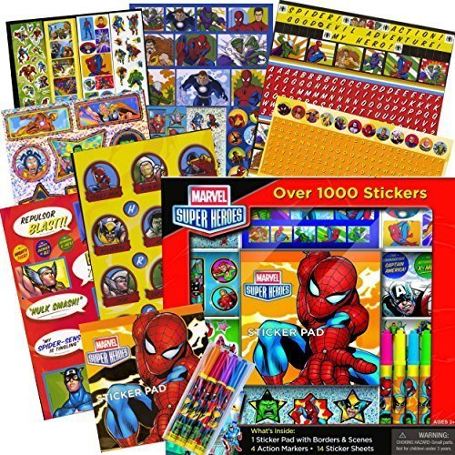 Marvel Heroes Avengers Stickers Activity Set -- Over 1000 Stickers --- Avengers, Spiderman, Captain America, Thor, The Hulk and More!