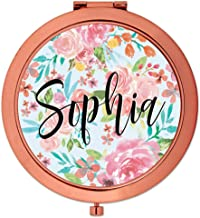 Andaz Press Personalized Compact Mirror Bridesmaid Wedding Gift, Rose Gold, Tea Party Pink Floral Flowers, 1-Pack, Bachelorette Bridal Shower Wedding Party Gifts, Custom Name
