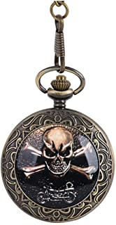 New Vintage Quartz Pocket Watch Bronze Steampunk Pirate Skull Head Horror with Chain Men Women Pendant Necklace For Gift Christmas Yang (Color : Bronze)