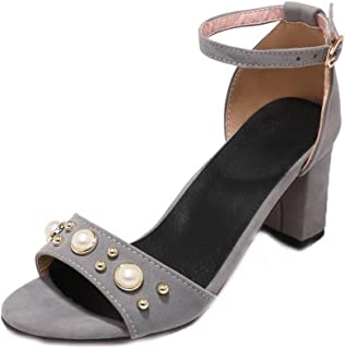 VogueZone009 Women's Solid Frosted High-Heels Buckle Open-Toe Sandals