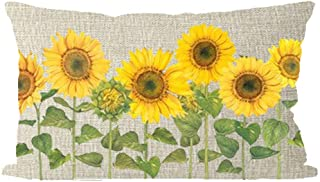 ITFRO Sister Aunts Beautiful Yellow Sunflowers Waist Lumbar Burlap Throw Pillow Case Cushion Cover Home Couch Sofa Decorative Rectangle Oblong 12x20 inches