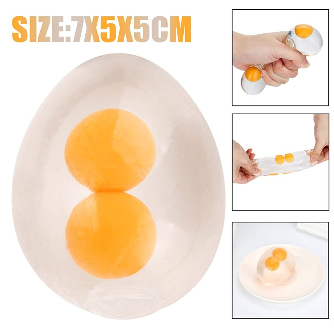 WFFO Slow Rising Squishy Toy, Funky Egg Splat Ball Squishy Toys Stress Relief Eggs Yolk Balls for Children for Kids Party Toys Stress Reliever Toy (Clear)