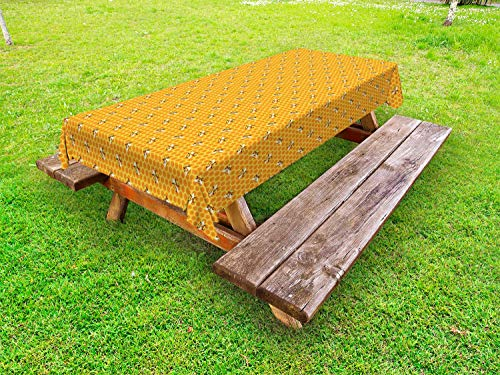 ABAKUHAUS Animal Art Tafelkleed voor Buitengebruik, Bijen op honing Combs Art, Decoratief Wasbaar Tafelkleed voor Picknicktafel, 58 x 84 cm, Mosterd en Orange