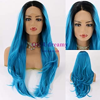 QD-Udreamy Long Natural Wavy Black Ombre Blue Synthetic Lace Front Wigs Natural Looking Hand Tied Heat Resistant Replacement Wig Synthetic Hair Wigs for Women 24 Inch