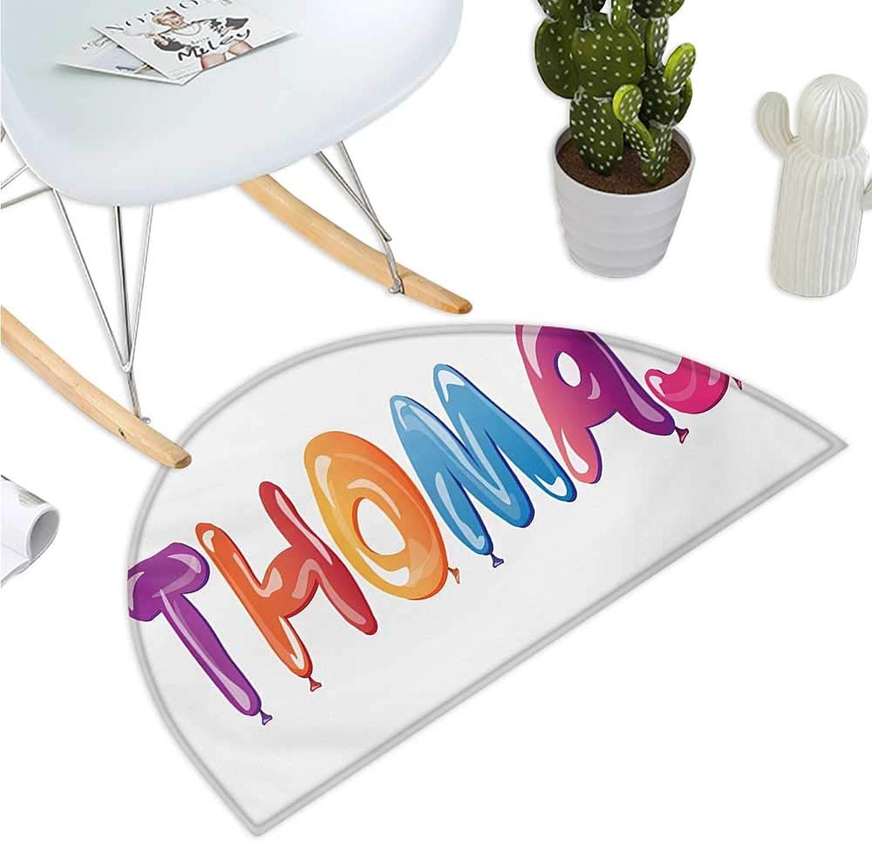 Thomas Semicircular Cushion colorful Common American Boy Name with Religious Connection Festive Fun Balloons Entry Door Mat H 35.4  xD 53.1  Multicolor