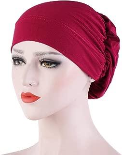Women's Solid Color India Braid Hat Muslim Ruffle Cancer Chemo Beanie Wrap Cap Chiffon Elegant Elastic Pleated Turban (Color E)