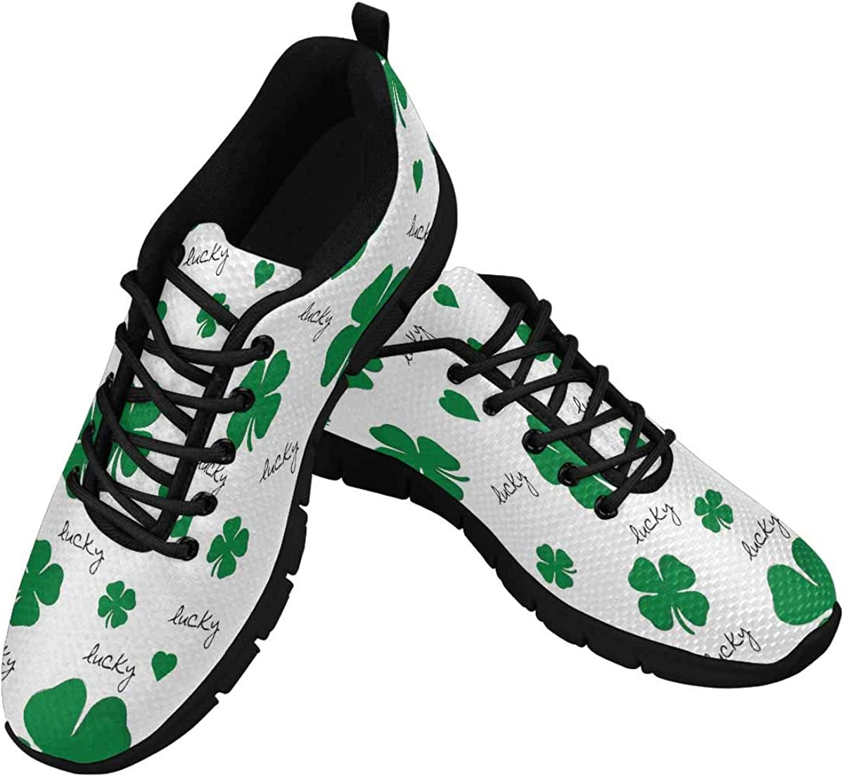InterestPrint Clover Pattern for Saint Patrick's Day Women's Athletic Mesh Breathable Casual Sneakers