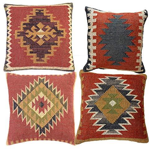 iinfinize 4cs - Funda de cojín de yute estilo vintage con diseño de kilim, tejido a mano, estilo vintage, para salón, funda de cojín turca, hecha a mano