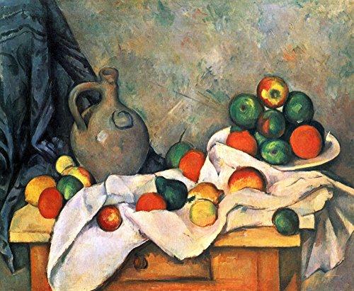 The Museum Outlet - Stilleven, draperie, pitcher en fruitschaal door Cezanne - A3 Poster