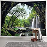 NYMB Tapiz de cascada de montaña para colgar en la pared, paisaje natural con tapices verdes de bosque, tapiz de árbol, decoración de pared para recámara, sala de estar recámara
