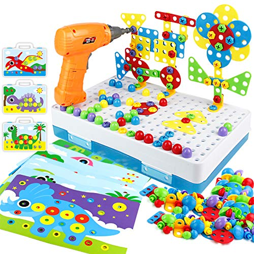 Chiodini per Bambini Giochi Montessori 2 3 4 Anni Mosaico Costruzioni Cassetta Attrezzi con Trapano Giocattolo per Bambini 2 3 4 5 Anni
