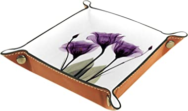 Leather Valet Tray, Dice Tray Folding Square Holder, Dresser Organizer Plate for Change Coin Key Flower Purple Tulip Romantic