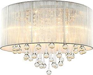 Cristal Lámpara de techo Cromo Moderno Elegante Focos de techo Luz de crystal Romántico Princesa Cuarto Sala Comedor Sala de bodas Loft Candelabro Araña Plata Redondo Tela Pantalla Iluminación D45cm