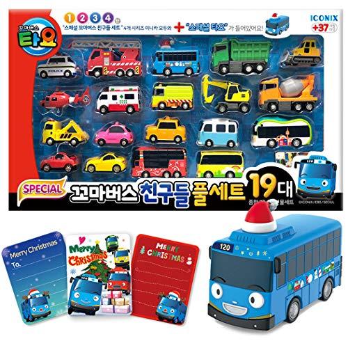 The Little Bus TAYO Juego Especial de Amigos 19 Piezas Mini Coche Completo con Santa Tayo + 3 Tarjeta de Gracias (18.8
