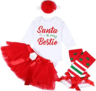 Christmas Outfit Newborn Baby Boy Girl Clothes Santa Romper Top with Leg Warmth 3Pcs Set