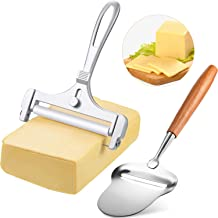 2 Pieces Stainless Steel Wire Cheese Slicer Adjustable Thickness Cheese Cutter, Cheese Slicer Spatula Plane with Wood Hand...