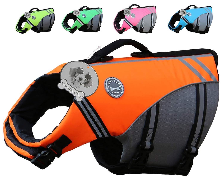 Vivaglory ペット ライフジャケット 運動スタイル 耐久材料 救うハンドル 高浮力 反射ライン 犬用ライフ ベスト 安全な泳ぎを補助(M オレンジ)