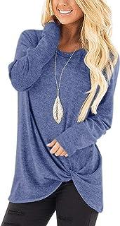 Bloggerlove Women Tunic Tops Knit Blouse Knot Twist Front Long Sleeve Casual Shirts S-XXL
