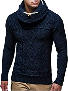 SPE969 Men's Knitted Designed Sweater,Autumn Winter Pullover Knitted Warm Jumper Drape Choker Sweater Blouse Top
