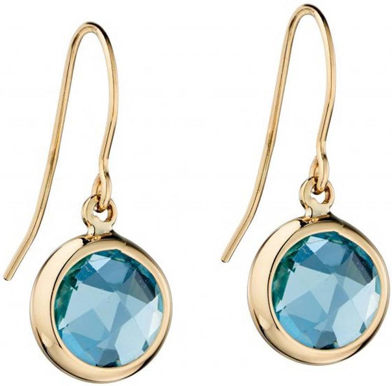 Elements gold Womens Topaz Bezel Set Drop Earrings  bluee gold
