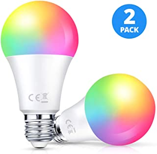 Smart LED Light Bulb 2 Pack LARKKEY WiFi Multicolor Light Bulb Compatible with Alexa and Google Assistant, E26 RGBW Color Changing Bulb, 7W Energy Saving and FCC Certified (Round-10w)