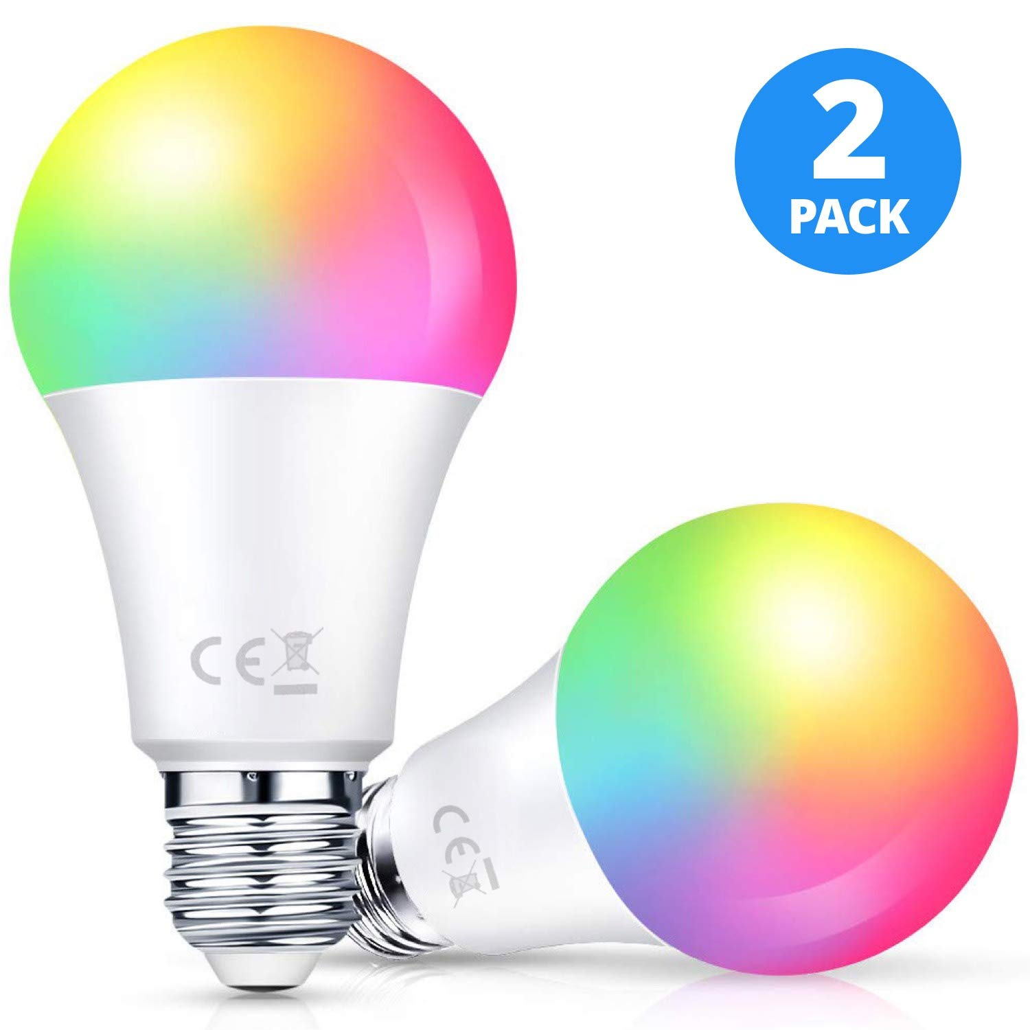 A19 E26 Base Type Dimmable Multicolored RGBW 10W Smart WiFi LED Light Bulb 2 Pack Work with Alexa /& Google Assistant 85W Equivalent No Hub Required