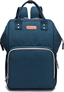 Leather Diaper Wallet Backpack Nappy Wallet for Mom Unisex Maternity Diaper Wallet with USB Charging Port Thermal Pockets Water Resistant Waterproof (Color : Blue)
