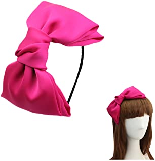 "Women 8"" Super Big Bows Hairstyle Hair Hoop Silky Fabric Hair Bows HeadBand for Girls Teens (Hot Pink)"