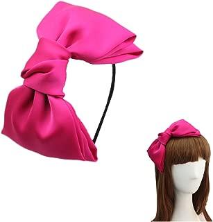 Women 8 Super Big Bows Hairstyle Hair Hoop Silky Fabric Hair Bows HeadBand for Girls Teens (Hot Pink)