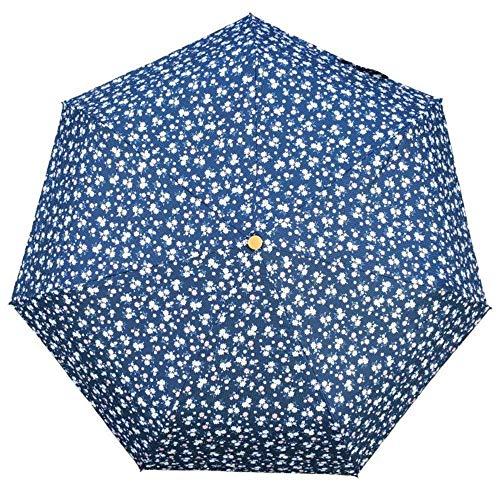 YNHNI Paraguas plegable triple pegamento plegable pequeños fragmentos anti-ultravioleta, protección solar, sombrilla para lluvia y sol, portátil (color azul marino)
