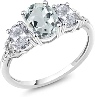 10K White Gold Sky Blue Aquamarine White Topaz and Diamond Accent 3-Stone Women's Engagement Ring 2.15 Ctw (Available 5,6,7,8,9)