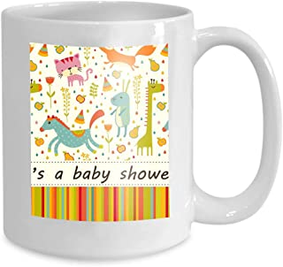 Custom Coffee Mug 11 Oz Ceramic Gifts Tea Cup colorful baby shower background happy birthday greeting card invitation cat fox giraffe horse rabbit Drawing
