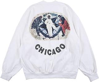cpfm.xyz Kanye Men's Sweatshirt Jesus is King CHICAGO Hip Hop Rapper Sweater Oversized Graphic Printing Cotton Crewneck Pu...