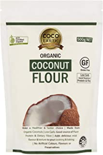 COCO EARTH Certified Organic Coconut Flour 500g| Low carb, Keto, Paleo, Gluten Free, 500 g
