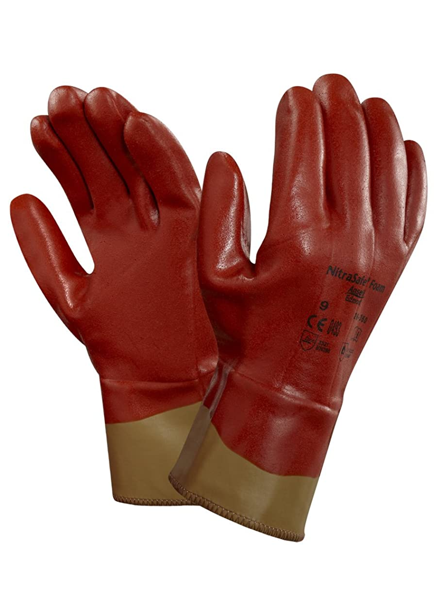 赤バレルミンチAnsell NitraSafe 28-360カット保護手袋、機械的保護、茶色、サイズ8(12ペアのパック)