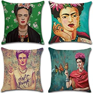 Joyi 4 Pack Frida Kahlo Self-portrait Cotton Linen Throw Pillow Case Car Cushion Cover 18