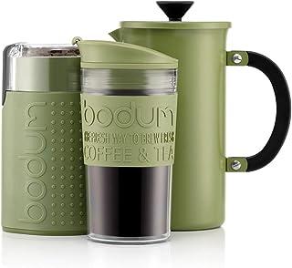 BODUM - Kaffebryggare (1 liter/8 koppar) av rostfritt stål, dubbelväggig resemugg och elektrisk kaffekvarn – grön