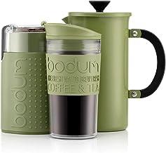 BODUM - Kafetière kaffebryggare (1 liter/8 koppar) av rostfritt stål, dubbelväggig resemugg och elektrisk kaffekvarn – grön