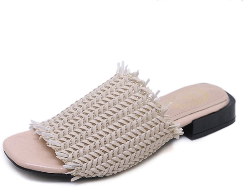 Kyle Walsh Pa Women Flip Flop Flat Sandal,Square Toe Weave Fringe Low Heel Beach Slipper shoes Khaki