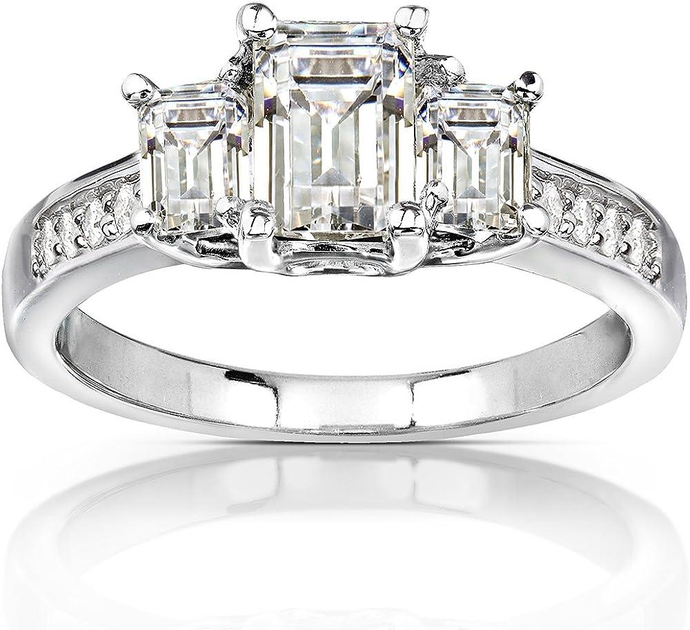 Kobelli Three-Stone Moissanite Engagement Ring Accent 1 3/5 CTW 14k White Gold